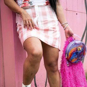 Pink & White Plaid Skirt